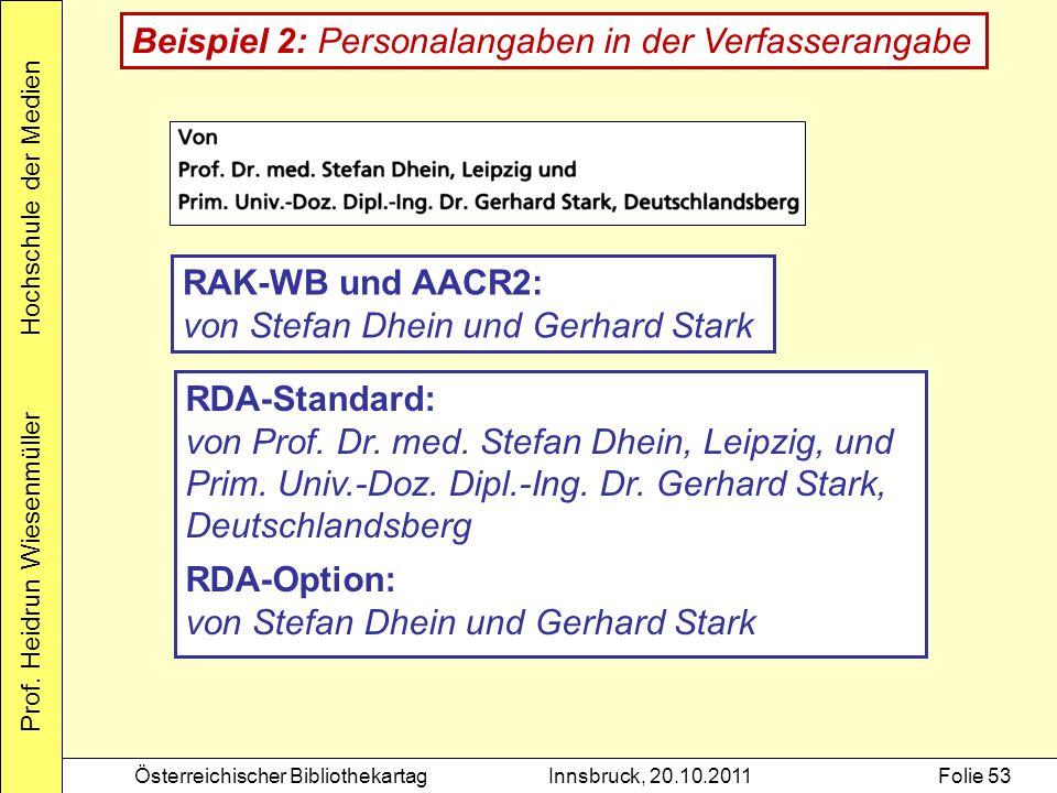 Prof. Heidrun Wiesenmüller Hochschule der Medien Österreichischer BibliothekartagInnsbruck, 20.10.2011Folie 53 RDA-Standard: von Prof. Dr. med. Stefan