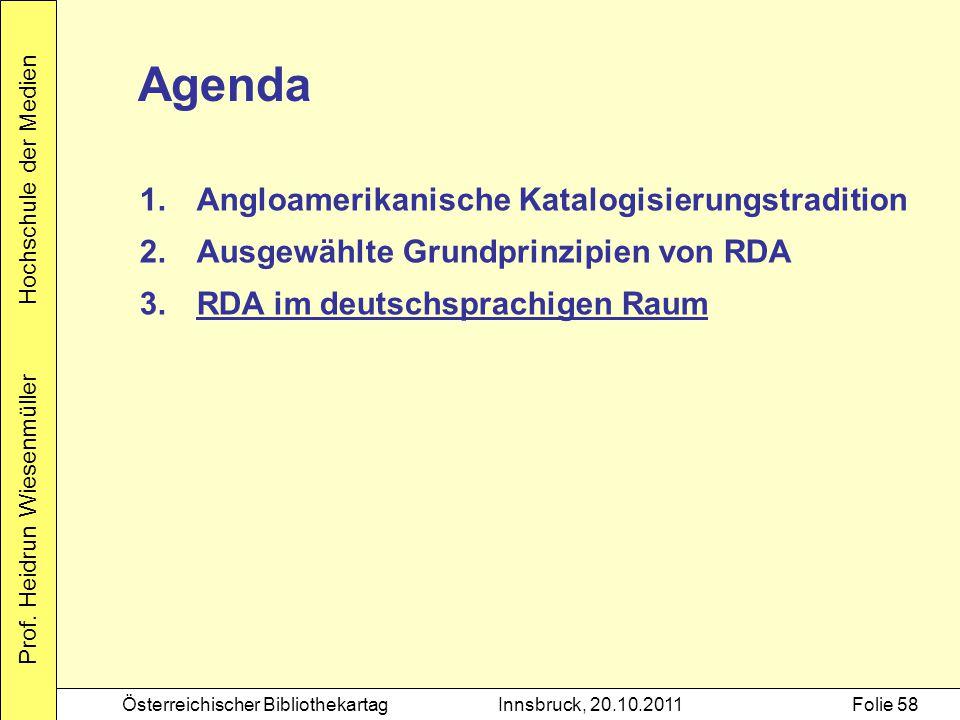 Prof. Heidrun Wiesenmüller Hochschule der Medien Österreichischer BibliothekartagInnsbruck, 20.10.2011Folie 58 Agenda 1.Angloamerikanische Katalogisie
