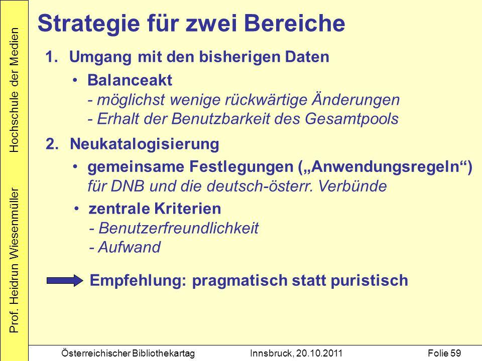 Prof. Heidrun Wiesenmüller Hochschule der Medien Österreichischer BibliothekartagInnsbruck, 20.10.2011Folie 59 Strategie für zwei Bereiche 1.Umgang mi
