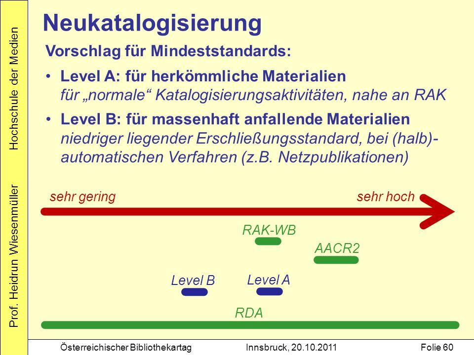 Prof. Heidrun Wiesenmüller Hochschule der Medien Österreichischer BibliothekartagInnsbruck, 20.10.2011Folie 60 Neukatalogisierung Vorschlag für Mindes