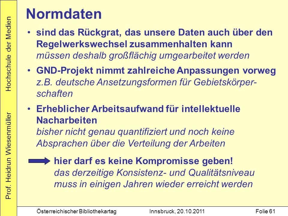 Prof. Heidrun Wiesenmüller Hochschule der Medien Österreichischer BibliothekartagInnsbruck, 20.10.2011Folie 61 sind das Rückgrat, das unsere Daten auc