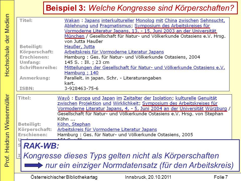 Prof. Heidrun Wiesenmüller Hochschule der Medien Österreichischer BibliothekartagInnsbruck, 20.10.2011Folie 7 Beispiel 3: Welche Kongresse sind Körper