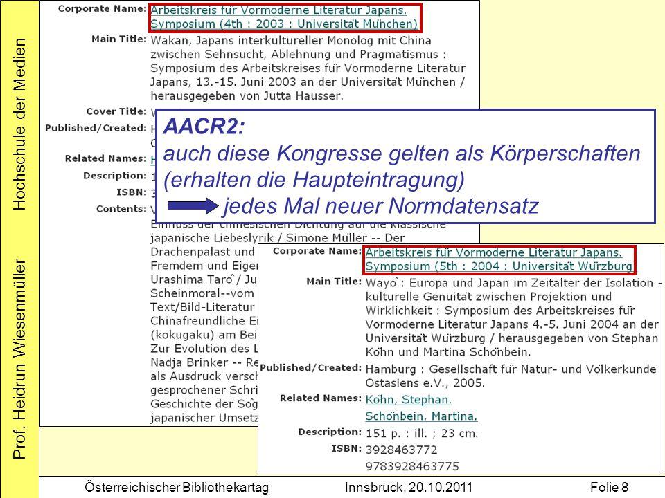 Prof. Heidrun Wiesenmüller Hochschule der Medien Österreichischer BibliothekartagInnsbruck, 20.10.2011Folie 8 AACR2: auch diese Kongresse gelten als K