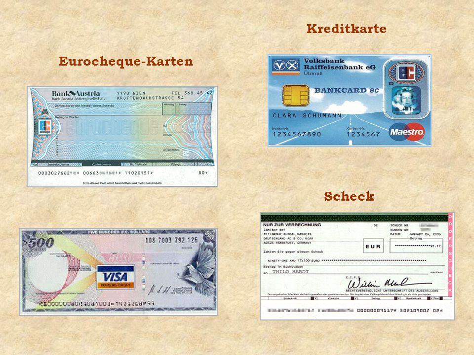 Kreditkarte Scheck Eurocheque-Karten