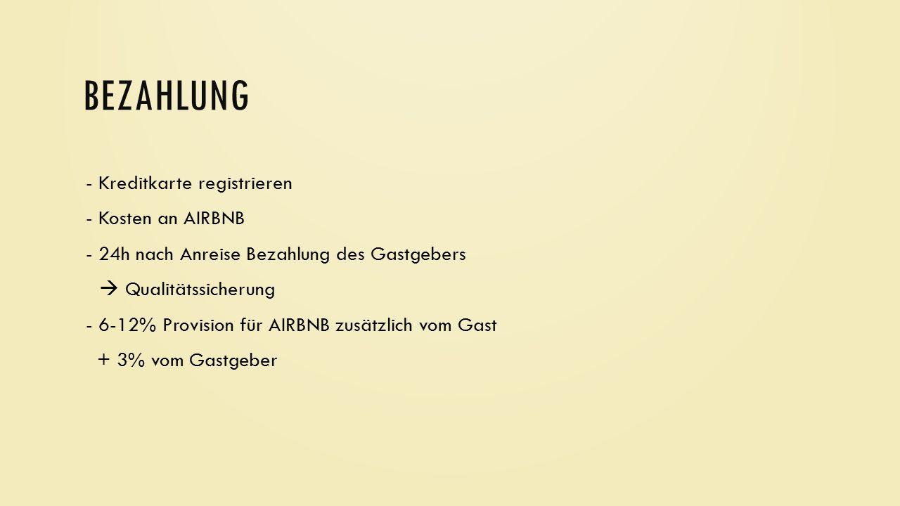 BEZAHLUNG - Kreditkarte registrieren - Kosten an AIRBNB - 24h nach Anreise Bezahlung des Gastgebers  Qualitätssicherung - 6-12% Provision für AIRBNB
