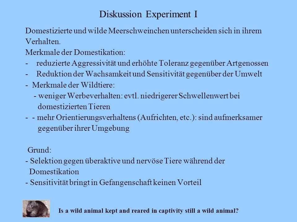 Domestizierte und wilde Meerschweinchen unterscheiden sich in ihrem Verhalten. Merkmale der Domestikation: -reduzierte Aggressivität und erhöhte Toler