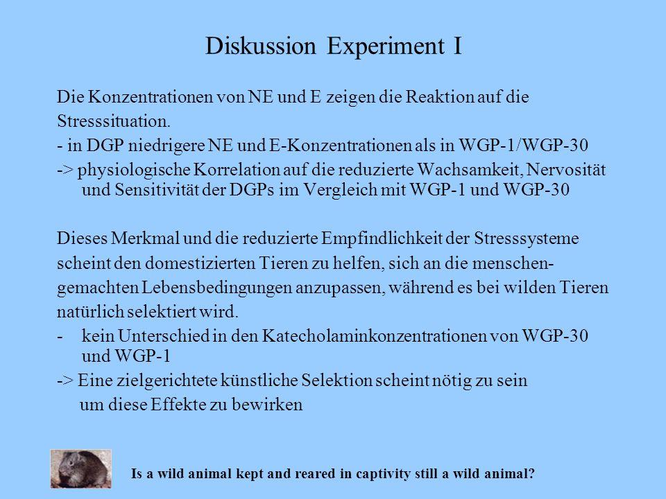 Die Konzentrationen von NE und E zeigen die Reaktion auf die Stresssituation. - in DGP niedrigere NE und E-Konzentrationen als in WGP-1/WGP-30 -> phys