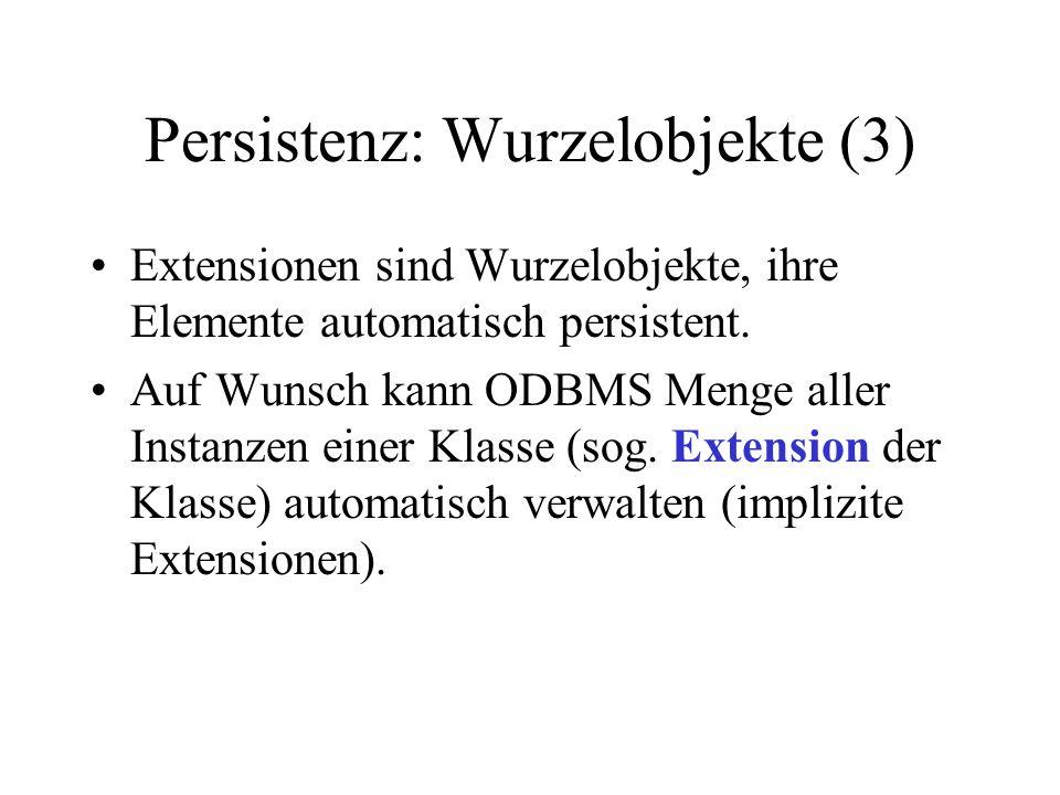 Persistenz: Wurzelobjekte (3) Extensionen sind Wurzelobjekte, ihre Elemente automatisch persistent.