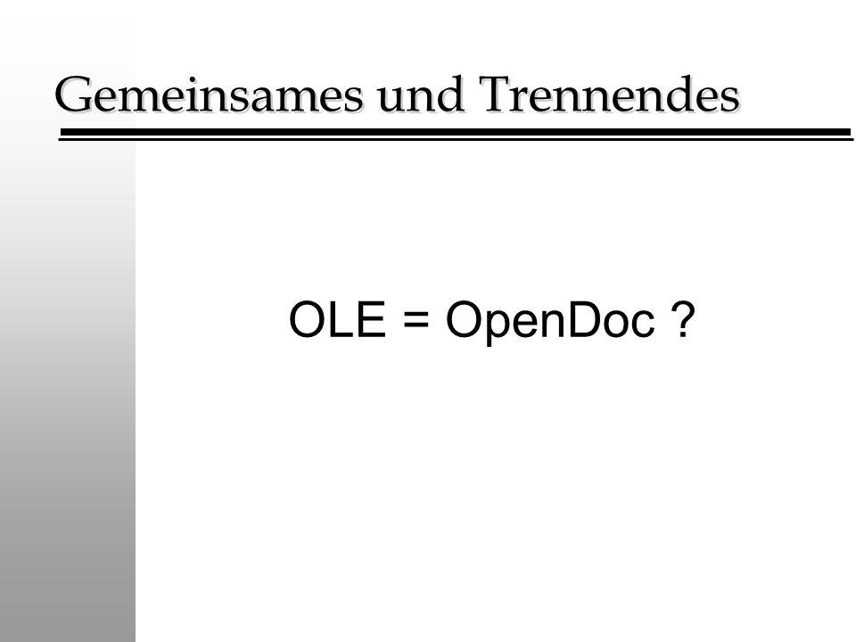Gemeinsames und Trennendes OLE = OpenDoc ?