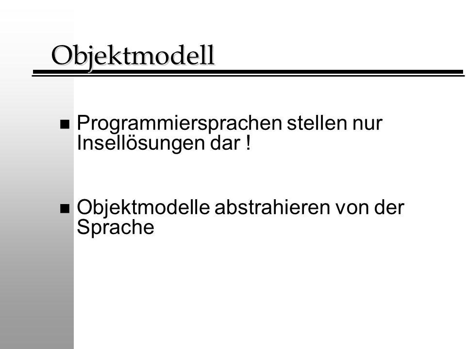 Objektmodell n Programmiersprachen stellen nur Insellösungen dar ! n Objektmodelle abstrahieren von der Sprache