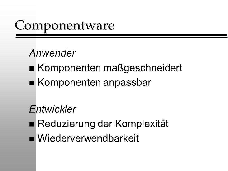 Componentware Anwender n Komponenten maßgeschneidert n Komponenten anpassbar Entwickler n Reduzierung der Komplexität n Wiederverwendbarkeit
