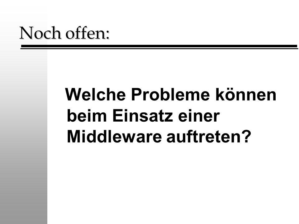 Noch offen: Welche Probleme können beim Einsatz einer Middleware auftreten?