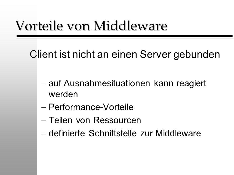 Vorteile von Middleware Client ist nicht an einen Server gebunden –auf Ausnahmesituationen kann reagiert werden –Performance-Vorteile –Teilen von Ressourcen –definierte Schnittstelle zur Middleware