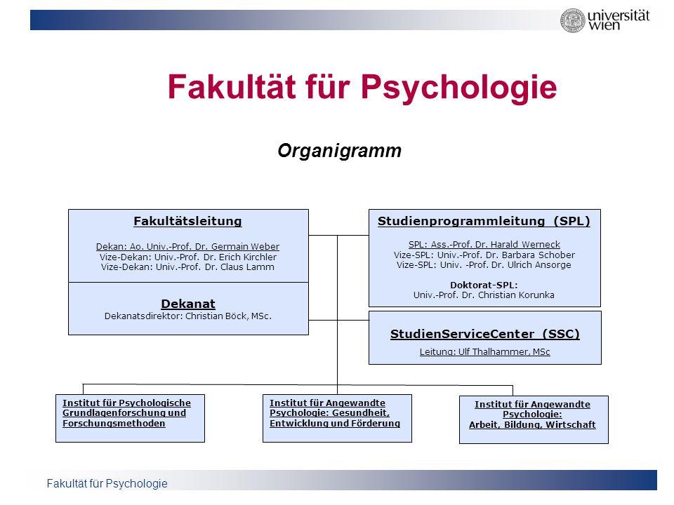 Fakultät für Psychologie Fakultätsleitung Dekan: Ao. Univ.-Prof. Dr. Germain Weber Vize-Dekan: Univ.-Prof. Dr. Erich Kirchler Vize-Dekan: Univ.-Prof.