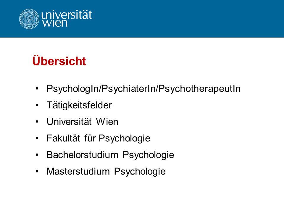 Übersicht PsychologIn/PsychiaterIn/PsychotherapeutIn Tätigkeitsfelder Universität Wien Fakultät für Psychologie Bachelorstudium Psychologie Masterstud
