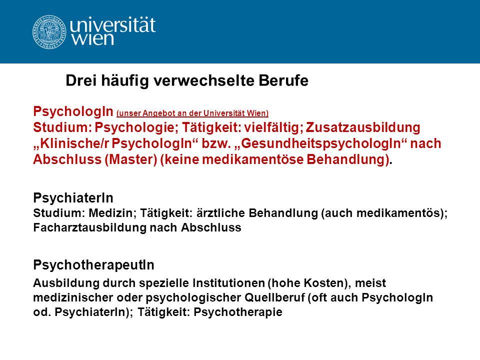 """Drei häufig verwechselte Berufe PsychologIn (unser Angebot an der Universität Wien) Studium: Psychologie; Tätigkeit: vielfältig; Zusatzausbildung """"Kli"""
