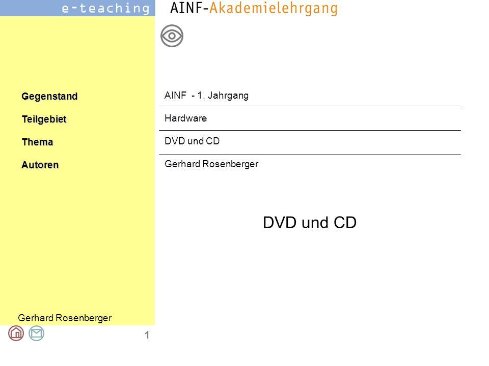 DVD und CD Gerhard Rosenberger 2 Hinweis zum Urheberrecht –Alle Bilder stammen aus wikipedia und unterliegen den dort angegebenen Rechten –Der Text stammt ebenfalls aus wikipedia –Quelle: http://de.wikipedia.org/wiki/DVD