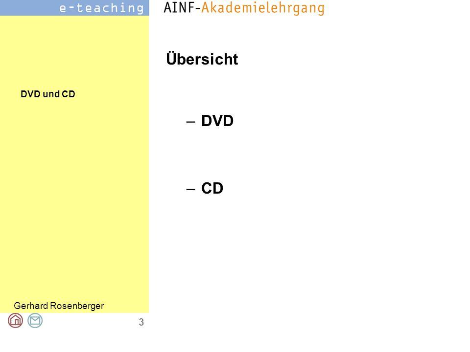 DVD und CD Gerhard Rosenberger 3 Übersicht –DVD –CD