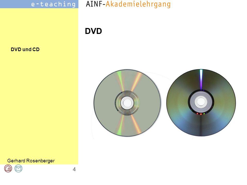DVD und CD Gerhard Rosenberger 5 DVD = ein Speichermedium Digital Versatile Disc (englisch für digitale, vielseitige Scheibe) Seit Anfang der 1990er 1999 erste DVD-Brenner