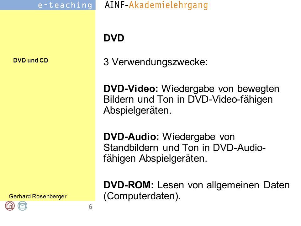 DVD und CD Gerhard Rosenberger 6 DVD 3 Verwendungszwecke: DVD-Video: Wiedergabe von bewegten Bildern und Ton in DVD-Video-fähigen Abspielgeräten.