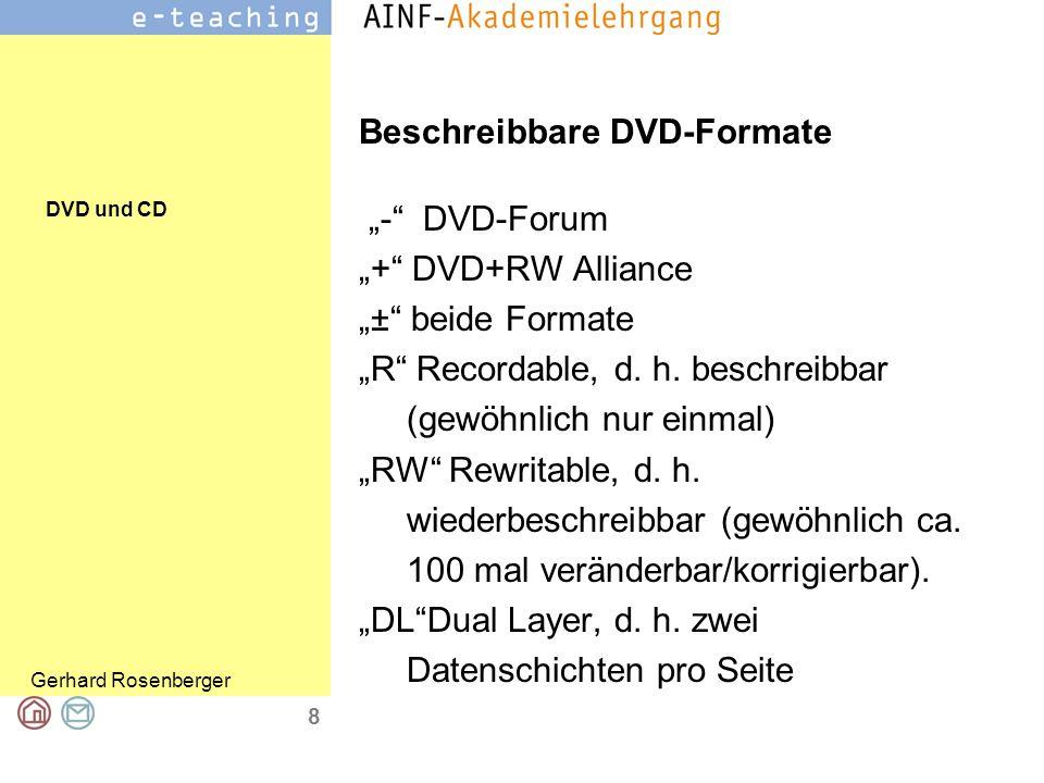 """DVD und CD Gerhard Rosenberger 9 DVD Speicherkapazität """"Pits and Lands sehr viel enger und kleiner als auf einer CD."""