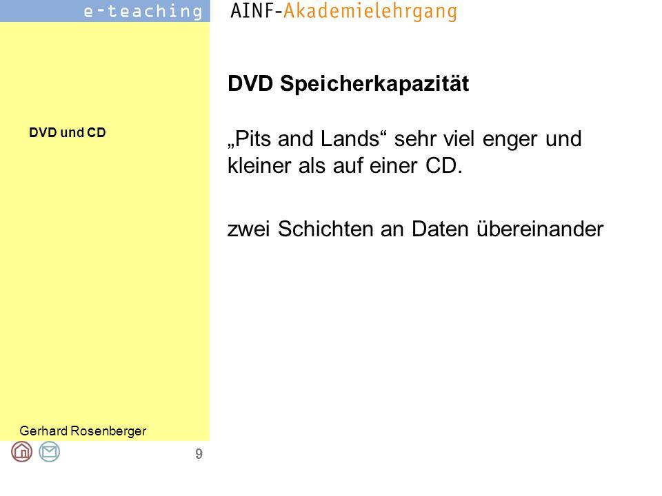 DVD und CD Gerhard Rosenberger 10 DVD brennen DVD-Rohlinge, in unterschiedlichen Qualitäten als DVD-R, DVD+R, DVD-RW und DVD+RW erhältlich Daher gebrannte DVD auf einigen DVD- Playern nicht abspielbar