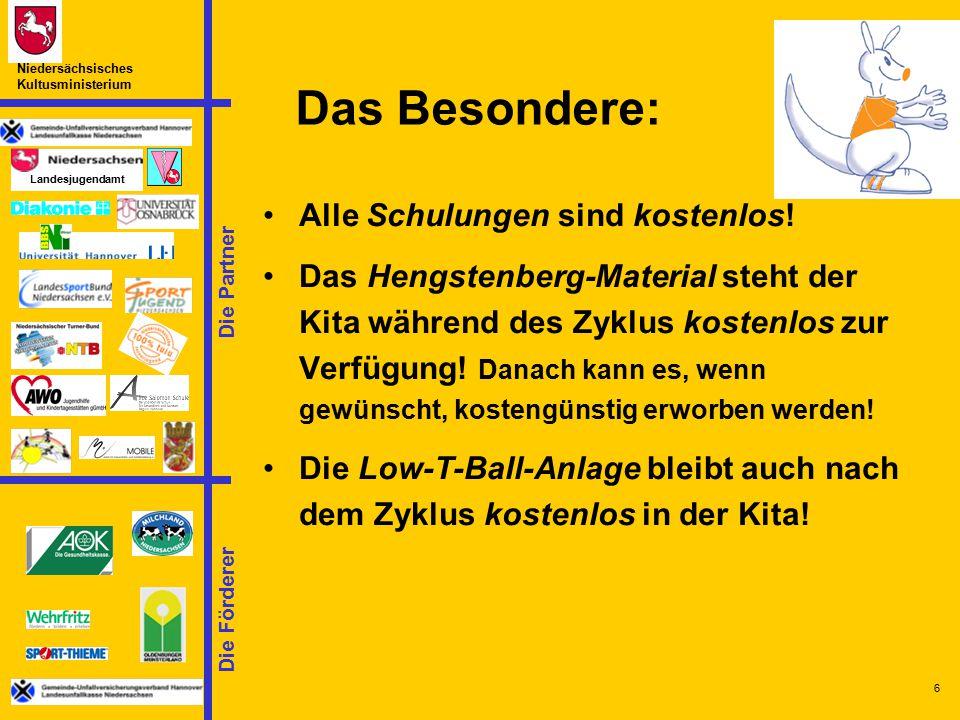 Die Partner Landesjugendamt Niedersächsisches Kultusministerium Die Förderer 6 Das Besondere: Alle Schulungen sind kostenlos! Das Hengstenberg-Materia