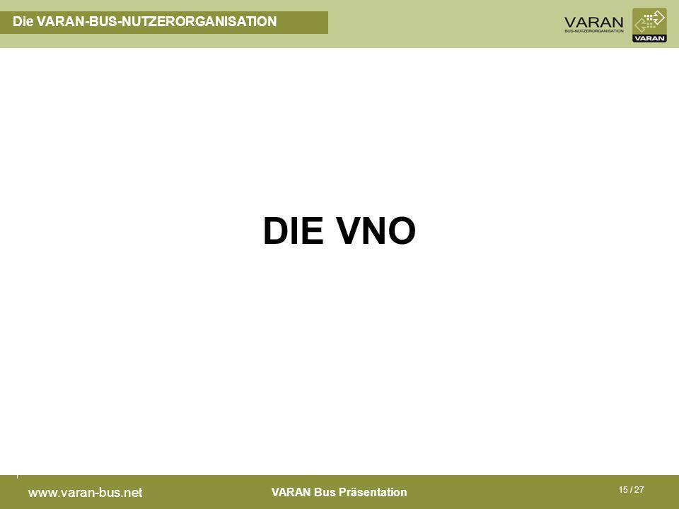 VARAN Bus Präsentation www.varan-bus.net 15 / 27 Die VARAN-BUS-NUTZERORGANISATION DIE VNO