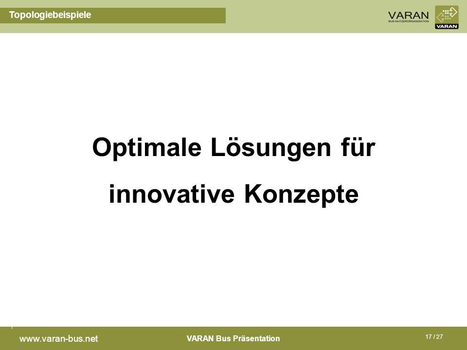 VARAN Bus Präsentation www.varan-bus.net 17 / 27 Topologiebeispiele Optimale Lösungen für innovative Konzepte