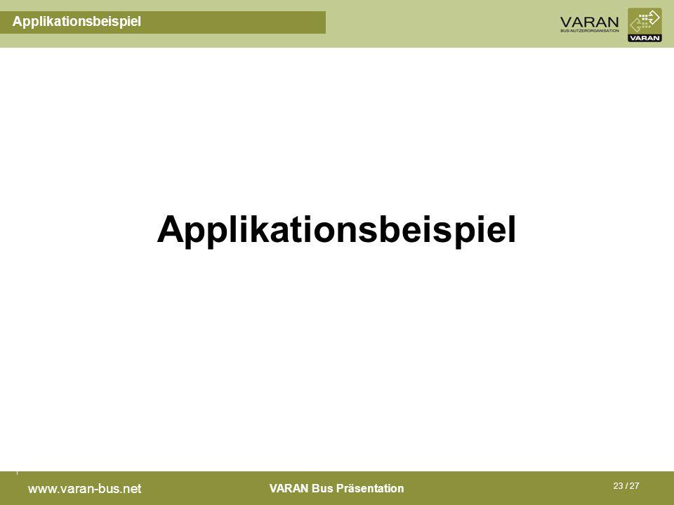 VARAN Bus Präsentation www.varan-bus.net 23 / 27 Applikationsbeispiel