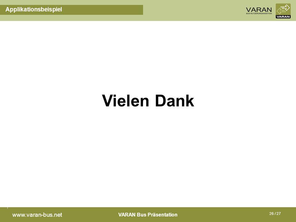 VARAN Bus Präsentation www.varan-bus.net 26 / 27 Applikationsbeispiel Vielen Dank