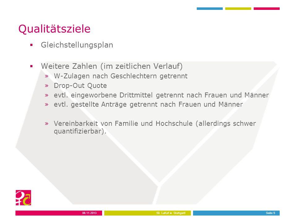 Qualitätsziele  Gleichstellungsplan  Weitere Zahlen (im zeitlichen Verlauf) »W-Zulagen nach Geschlechtern getrennt »Drop-Out Quote »evtl.