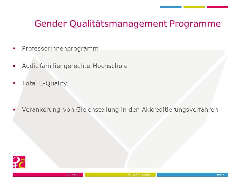 Seite 9 Gender Qualitätsmanagement Programme  Professorinnenprogramm  Audit familiengerechte Hochschule  Total E-Quality  Verankerung von Gleichstellung in den Akkreditierungsverfahren 08.11.2013 58.