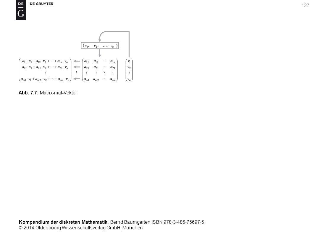 Kompendium der diskreten Mathematik, Bernd Baumgarten ISBN 978-3-486-75697-5 © 2014 Oldenbourg Wissenschaftsverlag GmbH, Mu ̈ nchen 127 Abb. 7.7: Matr