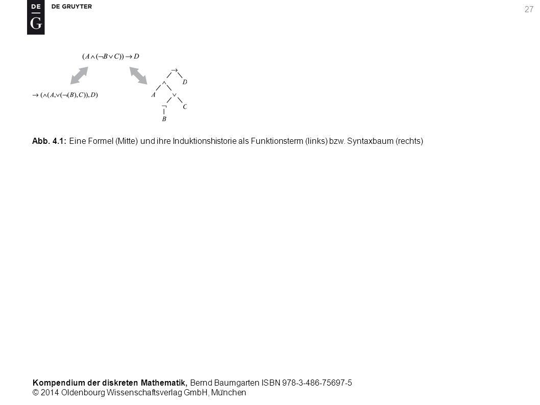 Kompendium der diskreten Mathematik, Bernd Baumgarten ISBN 978-3-486-75697-5 © 2014 Oldenbourg Wissenschaftsverlag GmbH, Mu ̈ nchen 27 Abb. 4.1: Eine