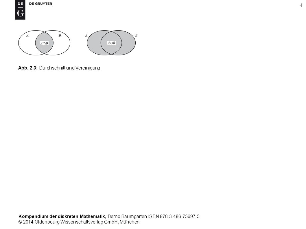 Kompendium der diskreten Mathematik, Bernd Baumgarten ISBN 978-3-486-75697-5 © 2014 Oldenbourg Wissenschaftsverlag GmbH, Mu ̈ nchen 35 Tab.