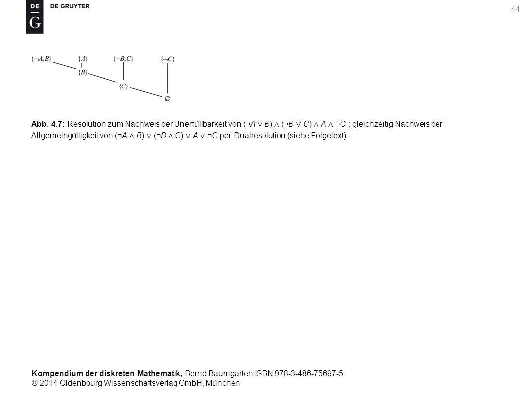 Kompendium der diskreten Mathematik, Bernd Baumgarten ISBN 978-3-486-75697-5 © 2014 Oldenbourg Wissenschaftsverlag GmbH, Mu ̈ nchen 44 Abb. 4.7: Resol