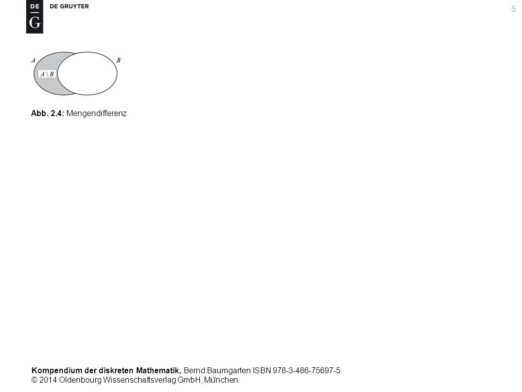 Kompendium der diskreten Mathematik, Bernd Baumgarten ISBN 978-3-486-75697-5 © 2014 Oldenbourg Wissenschaftsverlag GmbH, Mu ̈ nchen 5 Abb. 2.4: Mengen