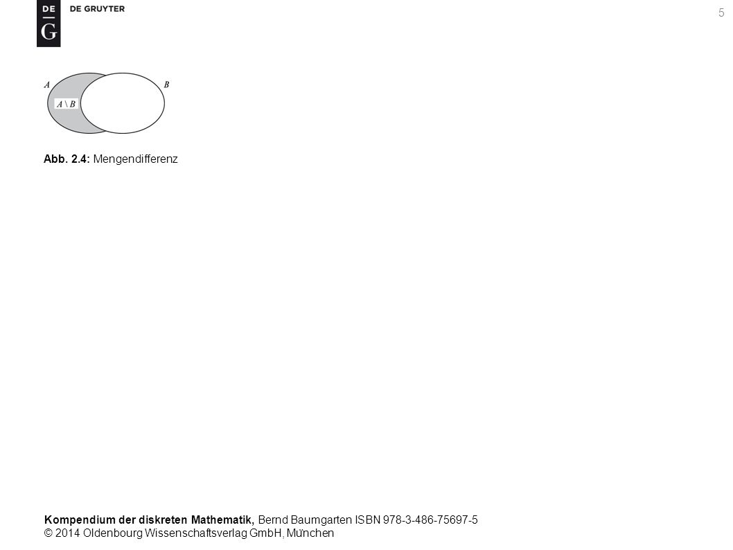 Kompendium der diskreten Mathematik, Bernd Baumgarten ISBN 978-3-486-75697-5 © 2014 Oldenbourg Wissenschaftsverlag GmbH, Mu ̈ nchen 6 Abb.