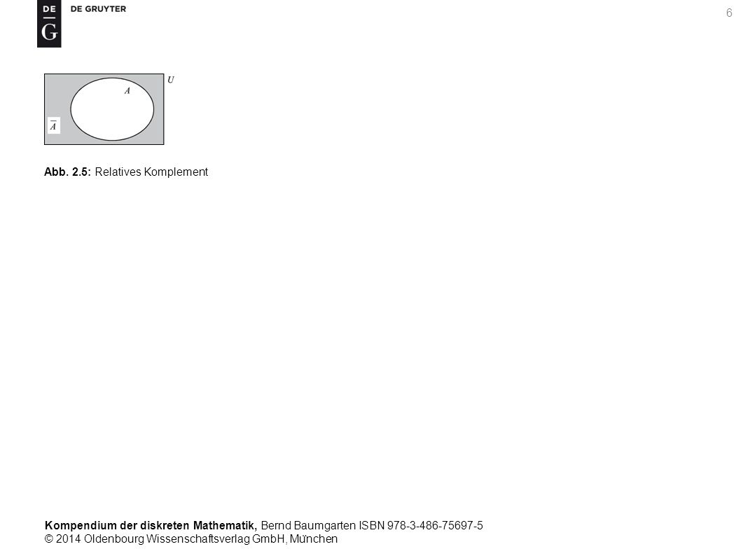 Kompendium der diskreten Mathematik, Bernd Baumgarten ISBN 978-3-486-75697-5 © 2014 Oldenbourg Wissenschaftsverlag GmbH, Mu ̈ nchen 7 Abb.