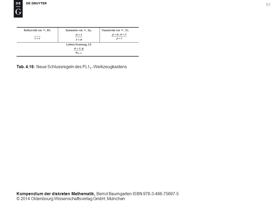 Kompendium der diskreten Mathematik, Bernd Baumgarten ISBN 978-3-486-75697-5 © 2014 Oldenbourg Wissenschaftsverlag GmbH, Mu ̈ nchen 61 Tab.
