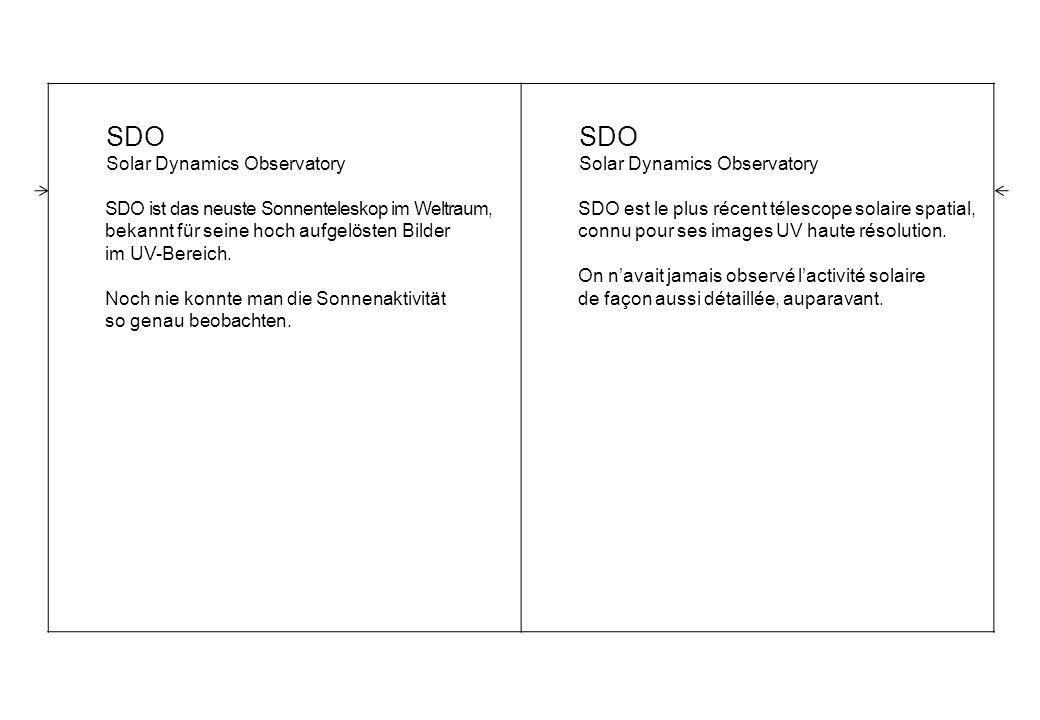SDO Solar Dynamics Observatory SDO ist das neuste Sonnenteleskop im Weltraum, bekannt für seine hoch aufgelösten Bilder im UV-Bereich.