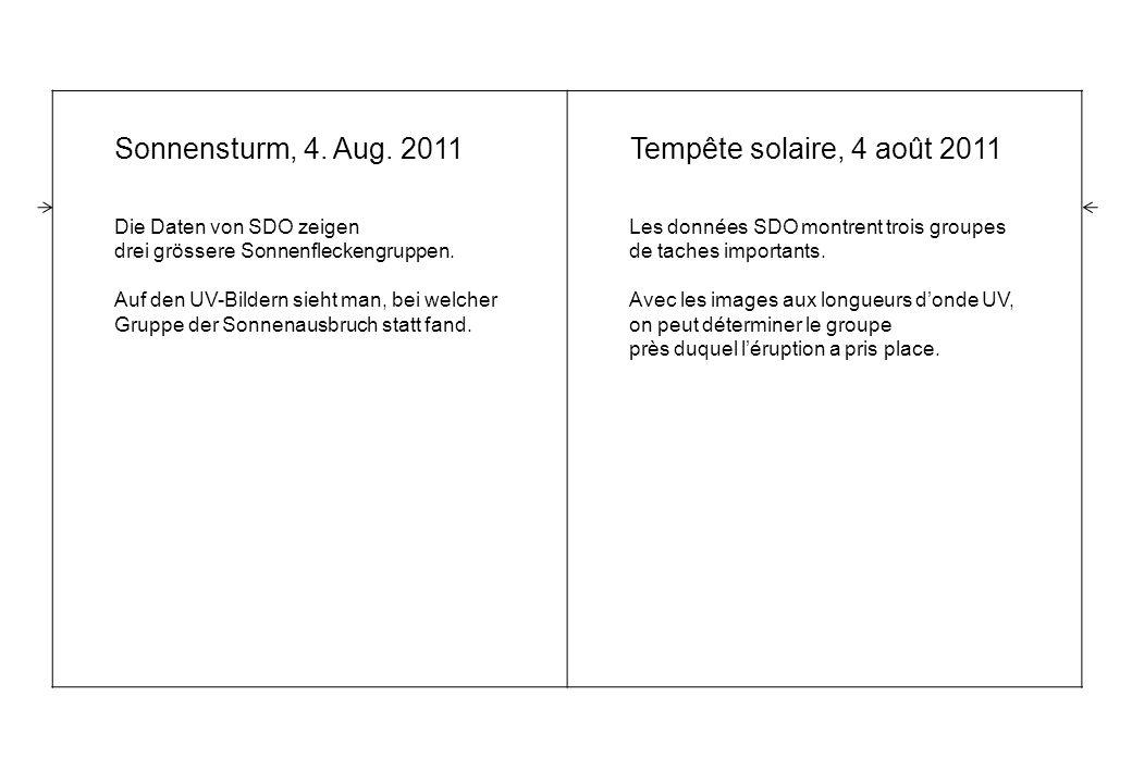 Sonnensturm, 4. Aug. 2011 Die Daten von SDO zeigen drei grössere Sonnenfleckengruppen.