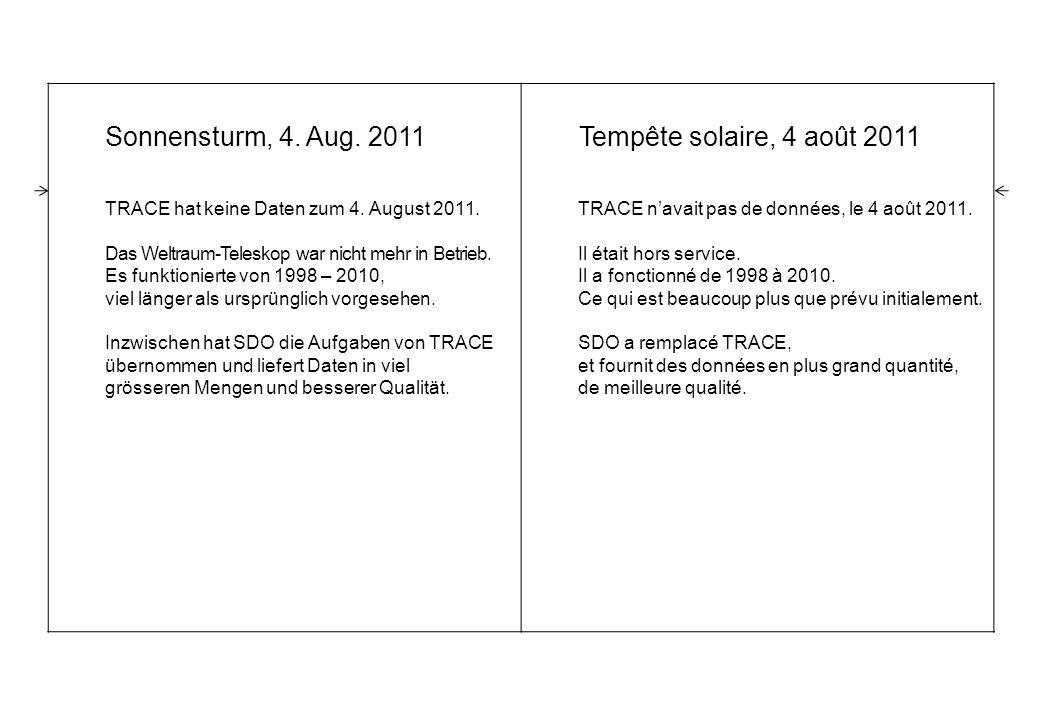 Sonnensturm, 4. Aug. 2011 TRACE hat keine Daten zum 4.