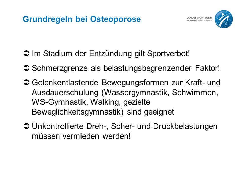 Grundregeln bei Osteoporose  Im Stadium der Entzündung gilt Sportverbot!  Schmerzgrenze als belastungsbegrenzender Faktor!  Gelenkentlastende Beweg