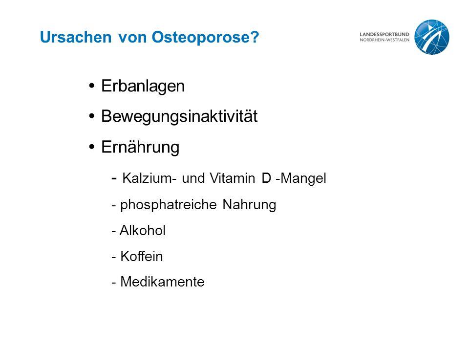 Ursachen von Osteoporose?  Erbanlagen  Bewegungsinaktivität  Ernährung - Kalzium- und Vitamin D -Mangel - phosphatreiche Nahrung - Alkohol - Koffei