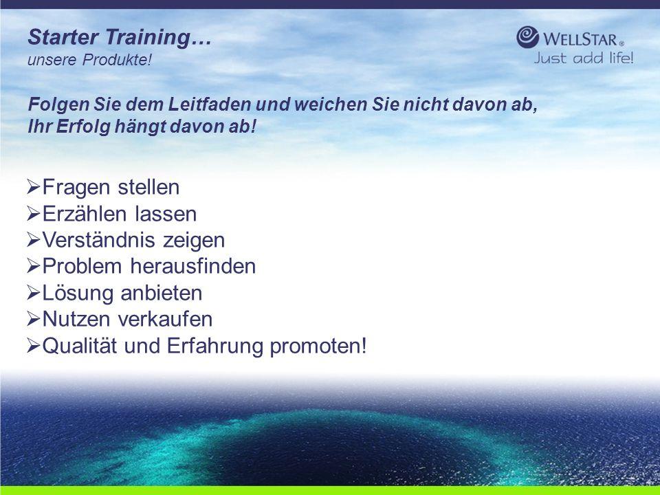 WellStarWellStar Starter Training… unsere Produkte!  Fragen stellen  Erzählen lassen  Verständnis zeigen  Problem herausfinden  Lösung anbieten 