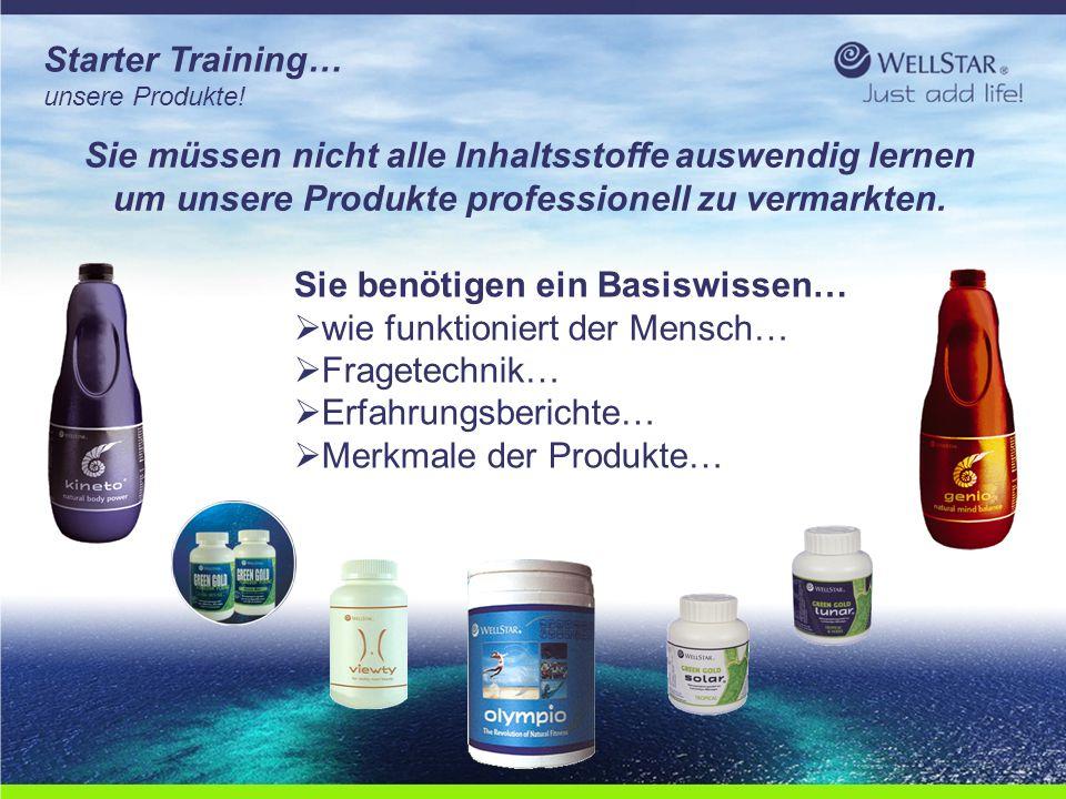 WellStarWellStar Starter Training… unsere Produkte! Sie müssen nicht alle Inhaltsstoffe auswendig lernen um unsere Produkte professionell zu vermarkte