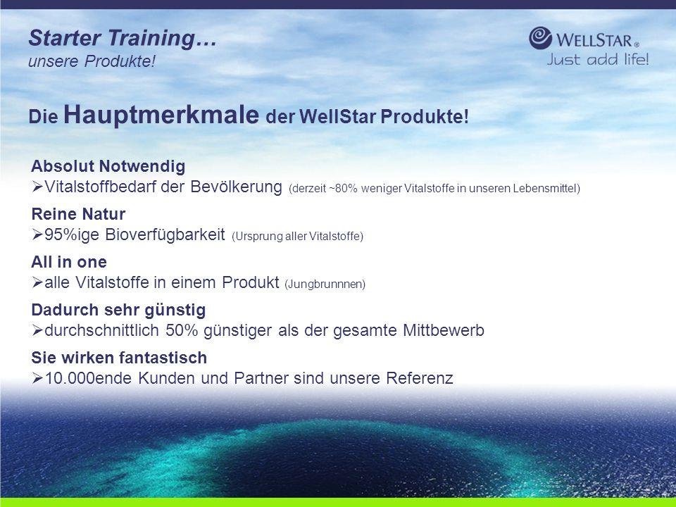WellStarWellStar Starter Training… unsere Produkte! Die Hauptmerkmale der WellStar Produkte! Absolut Notwendig  Vitalstoffbedarf der Bevölkerung (der