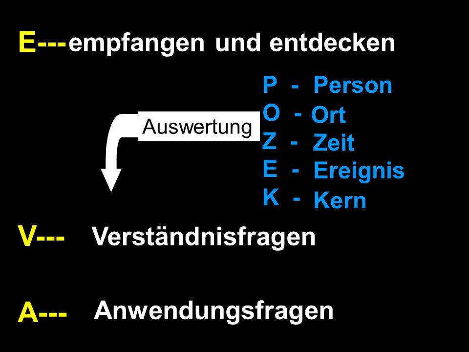 E--- A--- V--- empfangen und entdecken Verständnisfragen Anwendungsfragen P - O - Z - E - K - Person Ort Zeit Ereignis Kern Auswertung
